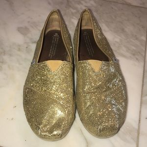 TOMS glitter Gold shoes size 10 used